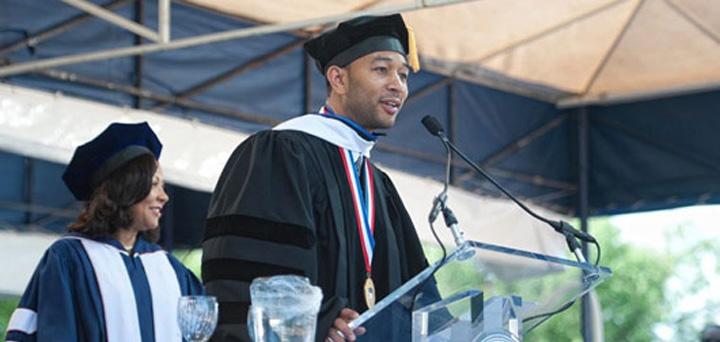 Singer and entertainer John Legend speaks at Howard University Graduation Ceremony.