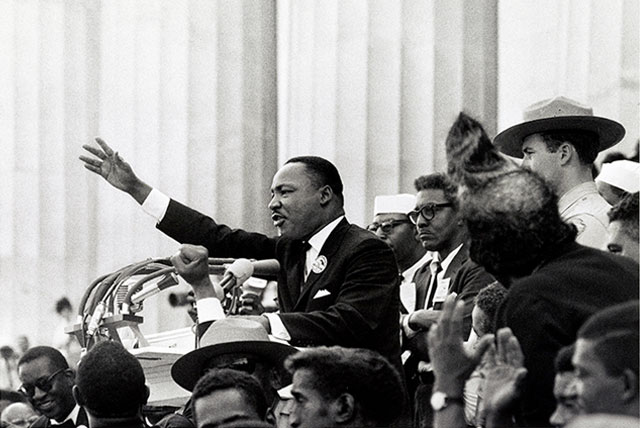 """Martin Luther King Jr delivers the """"I have a dream"""" speech from the podium which became the most famous of the Martin Luther King Jr Quotes"""
