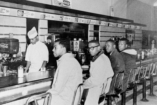 The Civil Rights Movement: On February 1, 1960 four A&T freshmen helped to orchestrate the sit-in movement starting with the F.W. Woolworth lunch counter in Greensboro, North Carolina. Photo courtesy of North Carolina A&T State University.