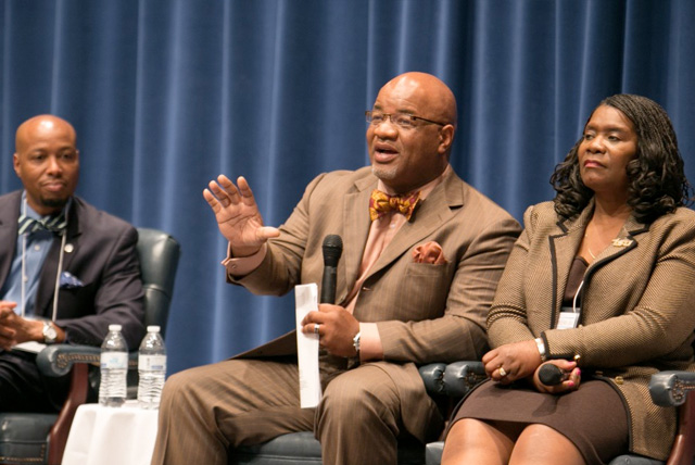 HBCU Presidents Dr. Kevin D. Rome, of Lincoln University, left; Dr. William B. Bynum, of Mississippi Valley State University; and Dr. Glenda Baskin Glover say non-minority institutions should take a lesson from HBCUs on how they are coping in the face of limited resources.