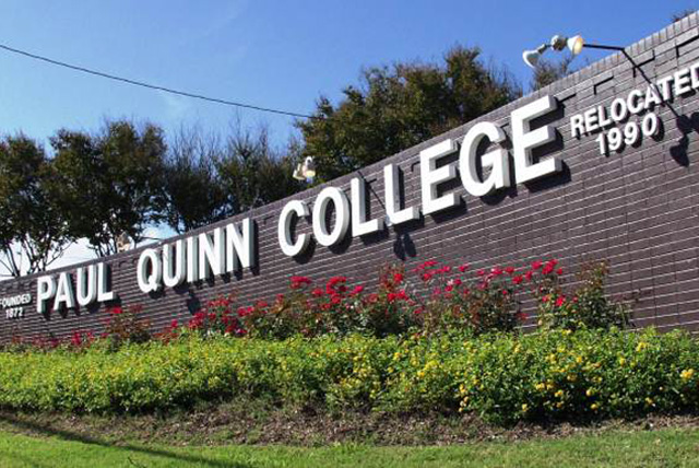 The Hope Tour: Signage displaying the name of Paul Quinn College at campus entrance.