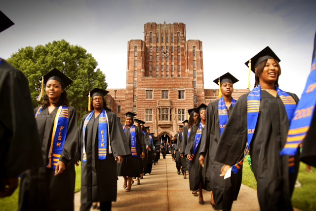 HBCU acronym that for Historically Black Colleges and Universities. Pictured are graduates march out of the Cravath Hall building at Fisk University, a private HBCU in Nashville, TN. Photo Courtesy of Fisk University