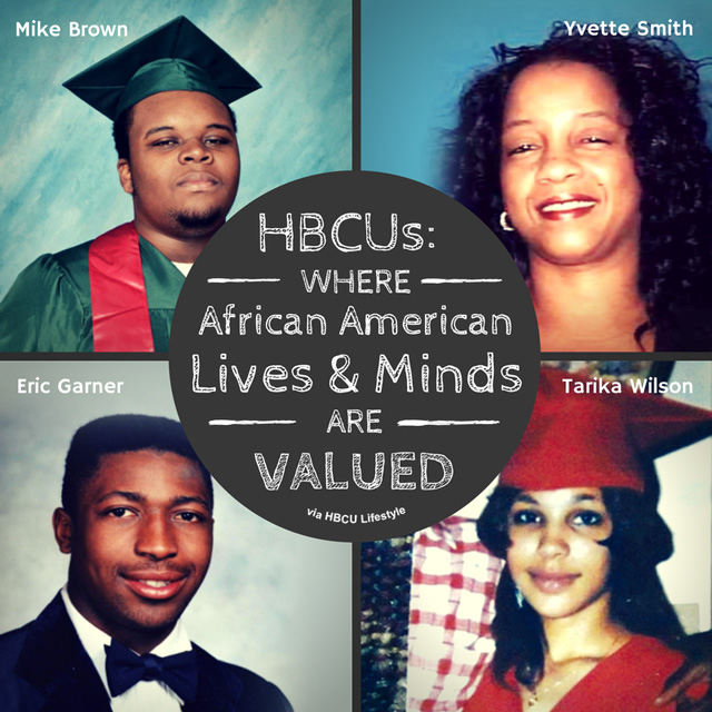 Valuable African American lives lost: Mike Brown (Ferguson, MO), Yvette Smith (Bastrop County, TX), Eric Garner - high school photo (Staten Island, NY), and Tarika Wilson (Lima, OH).