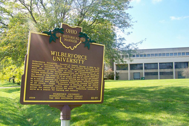 An Ohio Historical Marker honors Wilberforce University as the first private Historically Black College or University in America.