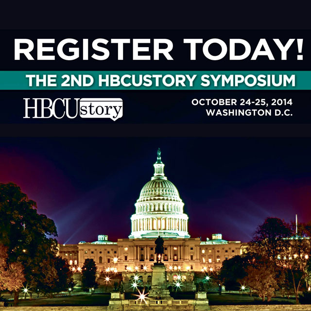The 2nd Annual HBCUstory Symposium Poster of featuring the Capital Building in Washington D.C. lighted at night.