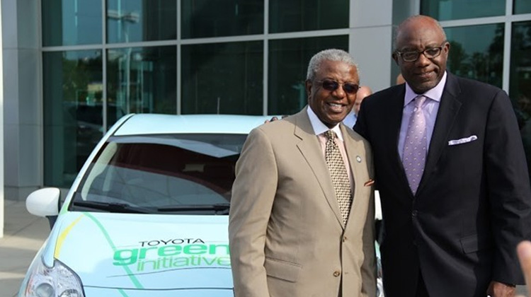 Livingstone College President, Dr. Jimmy R. Jenkins, Sr. is presented with a Toyota Prius by James Colon, Vice President and Toyota Multi Cultural Specialist on behalf of the Toyota Green Initiative.