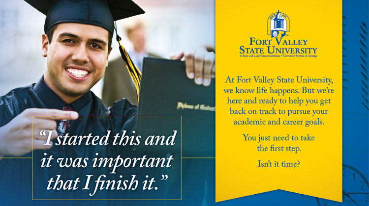 A FVSU Recruit Back Program advertisement featuring a male student pointing at his diploma.