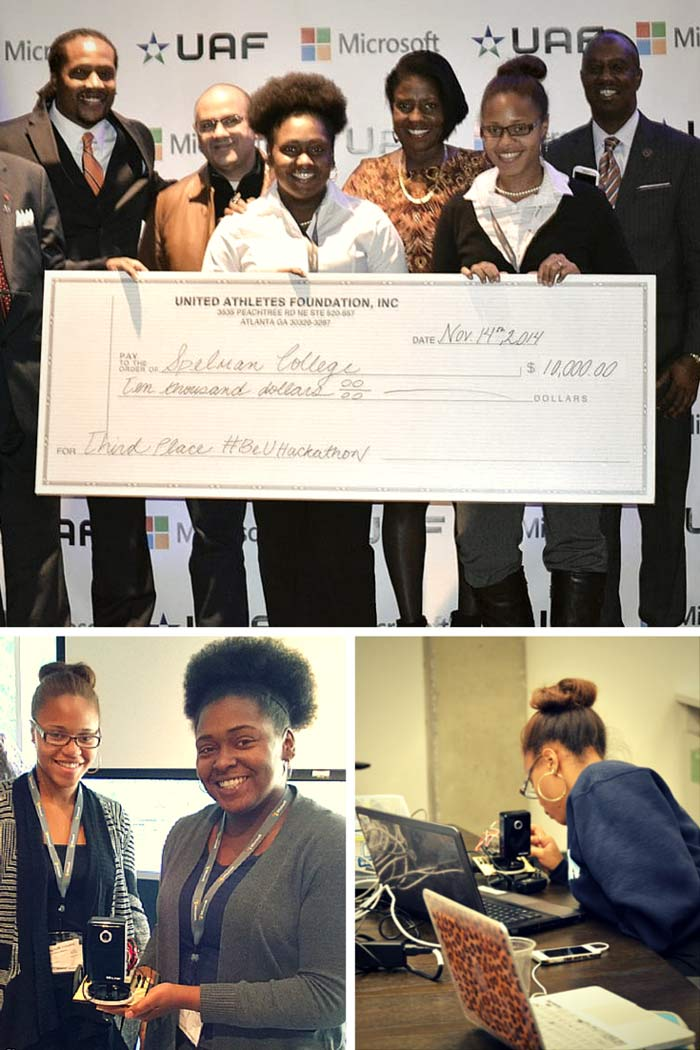 Two of Spelman College's SpelBots team members participated as finalists in the 2014 #BeU Hackathon.