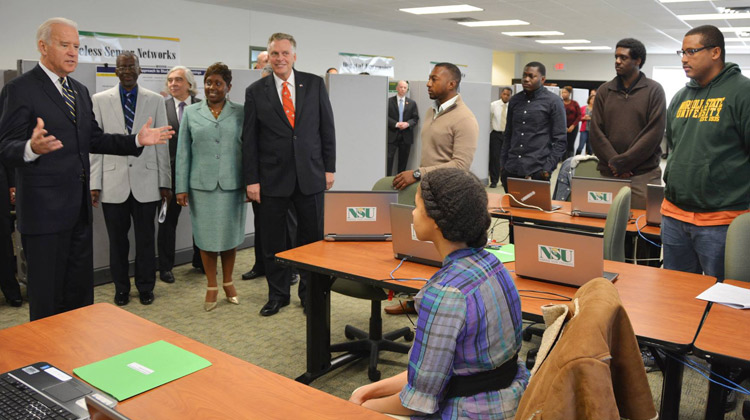 Vice President Joe Biden visited NSU to announce a $25 million cybersecurity education effort and workforce initiative.