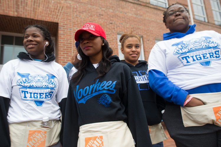 Voorhees College students participate in campus upgrades for the Retool You School Program presented by Home Depot.