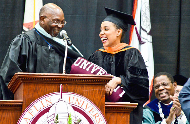 Ebony Editor-in-Chief Mitzi Miller is introduced at the 2015 Spring Convocation at Claflin University.