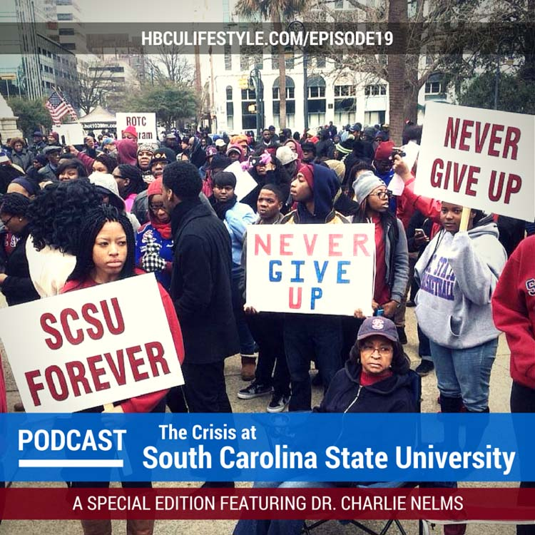A crowd of students, alumni and supporters rally behind South Carolina State University.