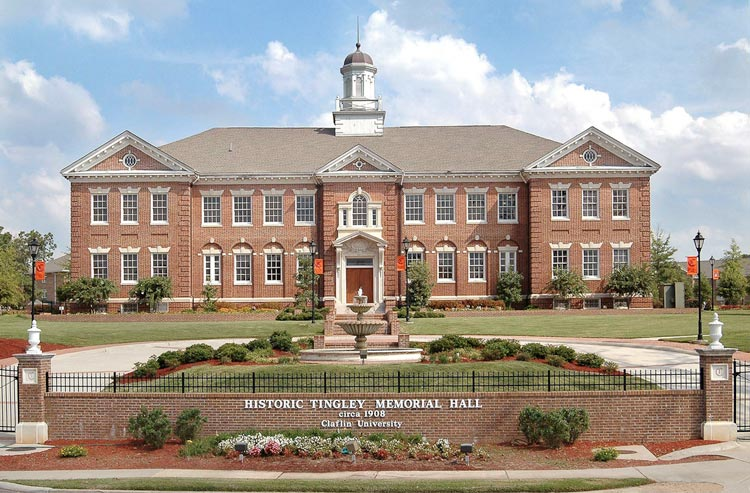 Historic Tingley Memorial Hall (Front), on the campus of Claflin University.