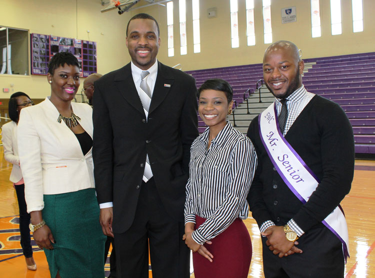 (Left to Right) Dejanay White, Miss UNCF; Omari Peterson, National Program Manager of Operation HOPE's Banking On Our Future College Edition; Keshari Millings, EWC Homecoming Queen; Ryan Andrews, Mr. Senior