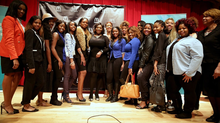 """Bravo's """"Fashion Queens"""" host Bevy Smith (center) and Harlem's Fashion Row (HFR) founder Brandice Henderson-Daniel discussed staying relevant in the fashion industry with Clark Atlanta University students today. McDonald's partnered with HFR to launch the 2015 Lovin' Student Fashion Design Competition, open exclusively to HBCU students."""