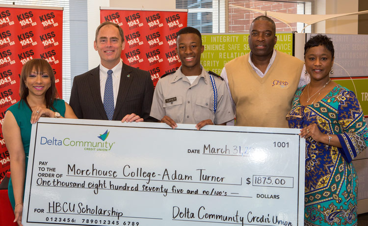 Delta Community Credit Union presents their first of four HBCU scholarship awards, in conjunction with radio station KISS 104.1