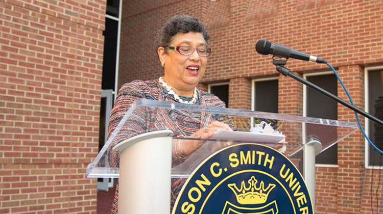 Dr. Dorothy Cowser Yancy speaks at the naming ceremony of the information and Technology Hall in her honor.