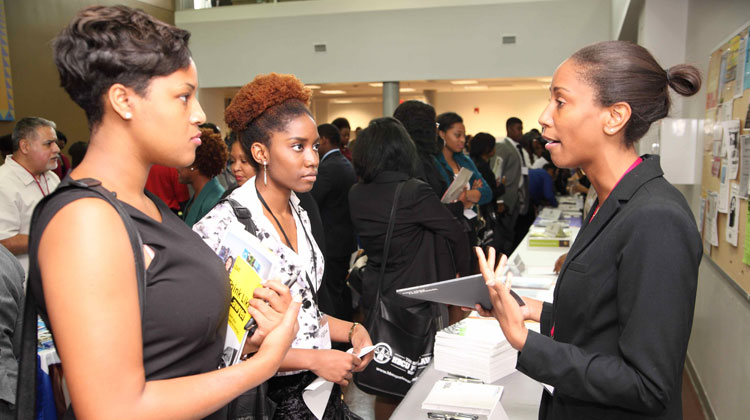 Students meet with Law School representative at the first annual HBCU Law Expo.