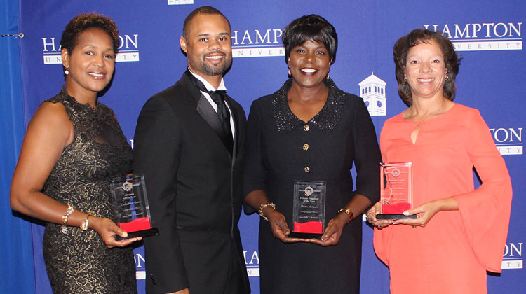 From left to right: Honoree and FAMU alumna Cecka Rose Green, HBCU Digest founder Jarrett Carter, FAMU President Elmira Mangum, and Honoree and FAMU Head Women's Track and Field/Cross Country Coach Darlene Moore.