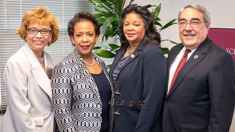 Pictured L to R: NCCU Chancellor Debra Saunders-White, U.S. Attorney General Loretta Lynch, Dean Phyliss Craig-Taylor, NCCU School of Law and U.S. Rep. G. K. Butterfield