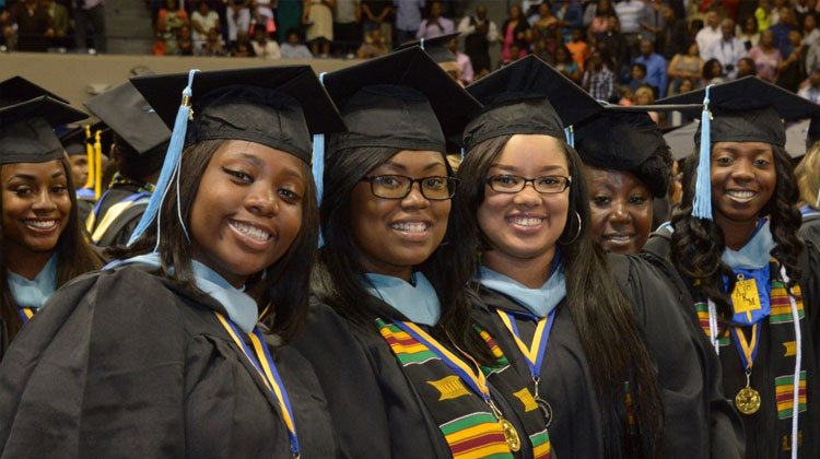 Albany State University graduates celebrate at the May 2015 spring commencement ceremony.