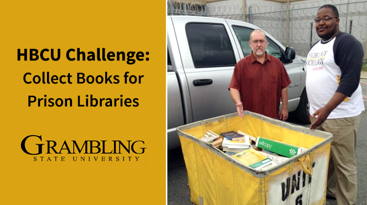 Matt Sheptoski, faculty adviser of GSU's Psychology and Sociology Club, and Jack Chandler, the club's president, deliver 225 books to Louisiana Prison.