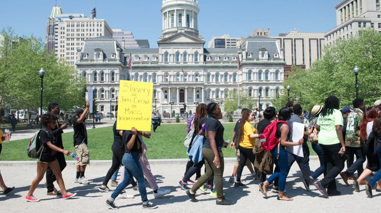 HBCU Rally for Unity participants from Morgan State and Bowie State Universities gather in front City Hall in Baltimore, MD.