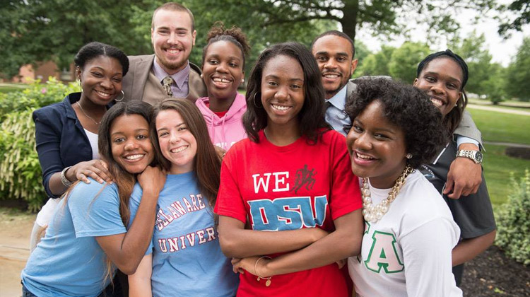 Students on the campus of Delaware State University