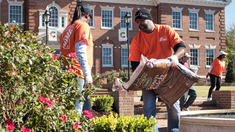 The Home Depot's Retool Your School team installs improvements on the campus of Claflin University.