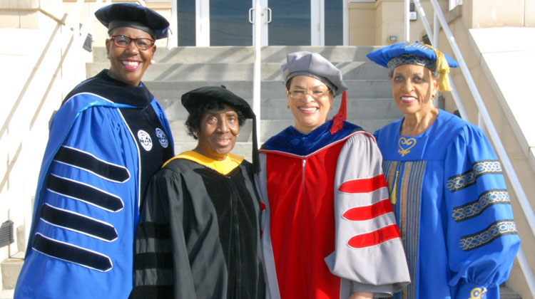 Bennett College has had 17 presidents in its history. From left to right are: President Rosalind Fuse-Hall, J.D., the current president of Bennett College, and former presidents: Dr. Gloria Scott, Dr. Julianne Malveaux, and Dr. Johnetta B. Cole.
