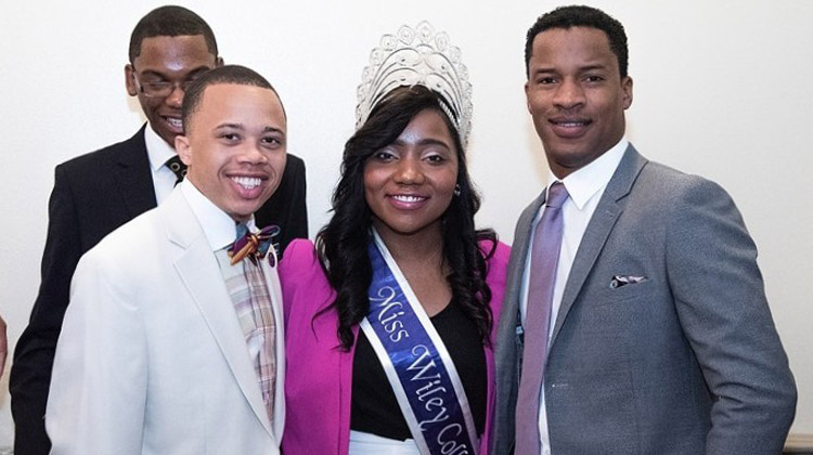 Nate Parker is pictured with Wiley College SGA president Kenneth Crawford and Miss Wiley, Shammia Williams, at the Founders Observance Student Leadership Prayer Breakfast on Thursday, March 17, 2016.