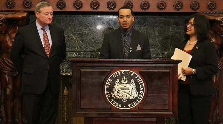 Philadelphia Mayor Jim Kenney and Jack Drummond Friday at City Hall.