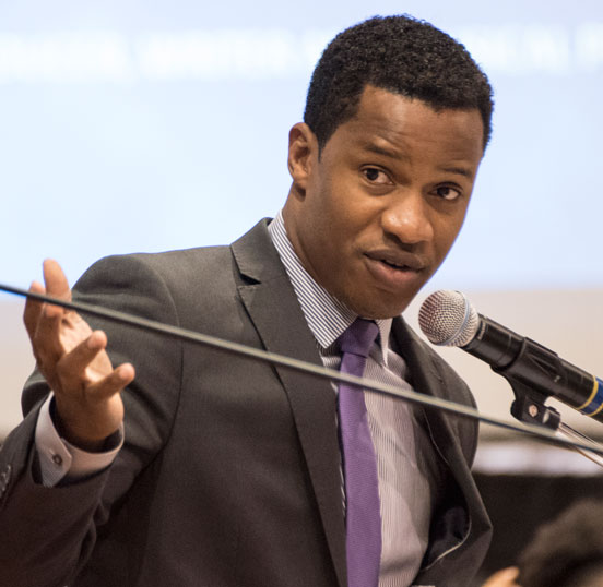 Nate Parker is pictured speaking at the 143rd Founders Observance Scholarship Gala on March 19, 2016, at Wiley College, where he announced plans to launch a film program in the fall and a summer film institute this summer (July 8-17, 2016).
