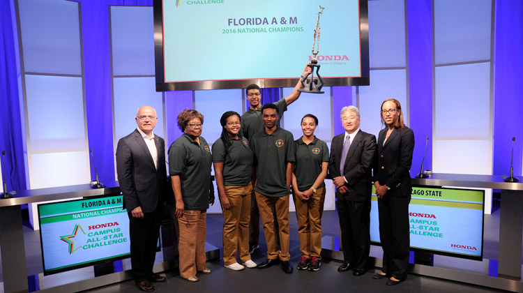 Representatives from Honda congratulate the winning team from Florida A&M University on their eighth win of the HCASC National Championship