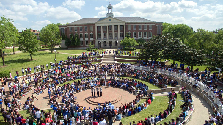 An aerial photo of the Tennessee State University (TSU) campus during a student event. TSU is among the largest HBCU schools in the enation.