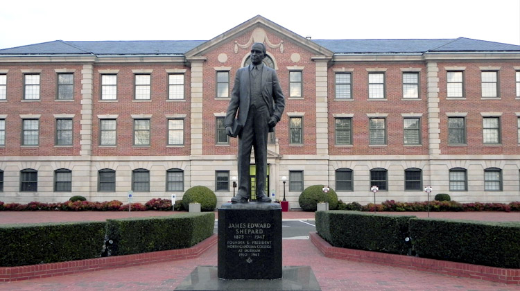 Statue of NCCU founder James E. Shepard. James E. Shepard was also a pharmacist, civil servant and educator.