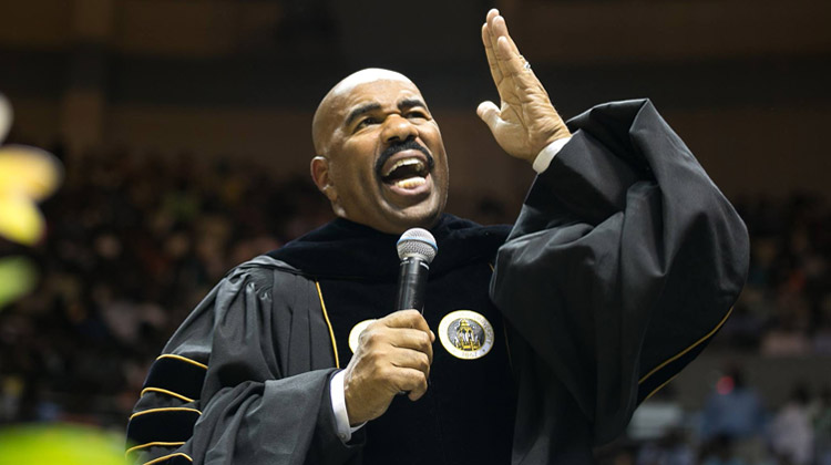 Harvey spoke before an overflow audience in the Dunn-Oliver Acadome on May 7, 2016.