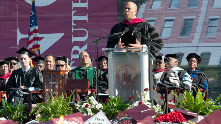 U.S. Senator Cory Booker urges graduates to stay faithful in character and honor.