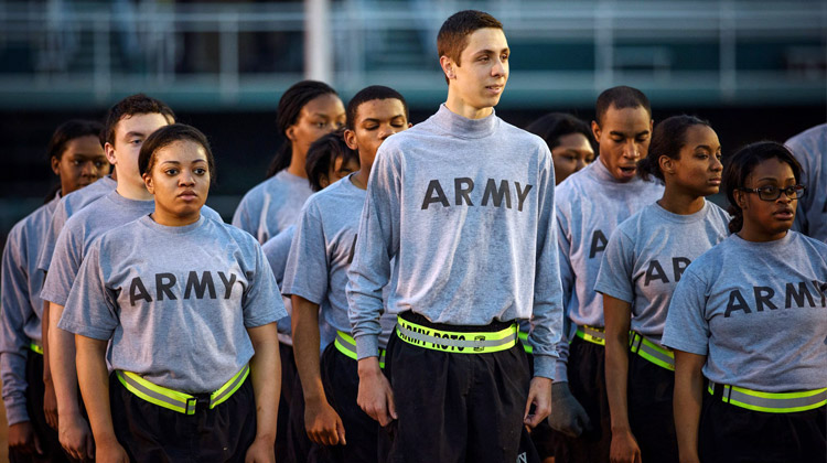Paying for College: Norfolk State University Army Reserve Officer Training Corps (AROTC) students line up for morning drills.