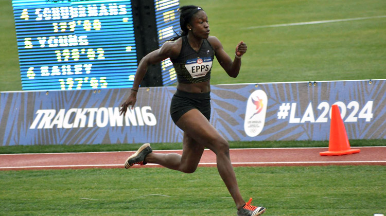 Christina Epps competes in the U.S. Olympic Team Trials in the Women's Triple Jump in Eugene, OR.