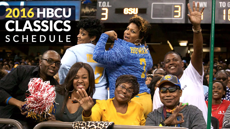 Southern University fans at the 2015 Bayou Classic Game show their school spirit for the camera in the stands.