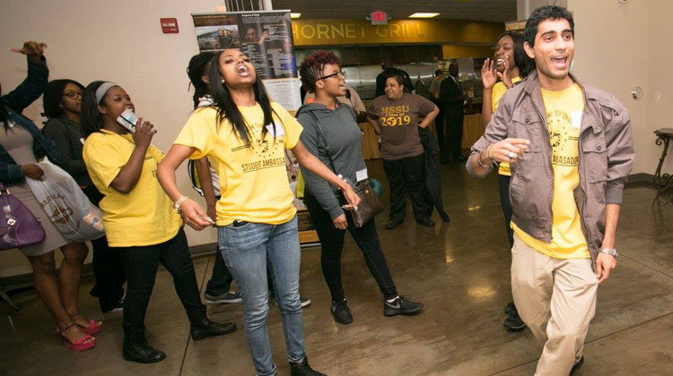 Harris-Stowe State University Ambassadors create excitement for incoming freshmen class.