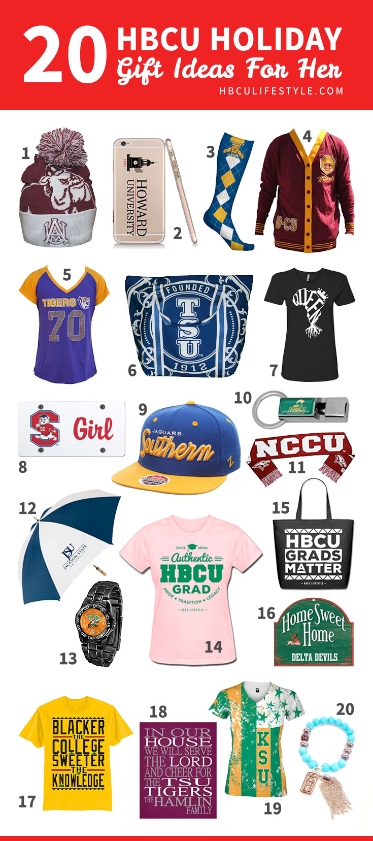 Gifts for her: A collection of holiday products and gift ideas for female HBCU supporters.