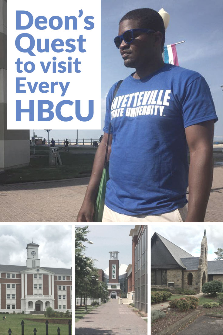 Deon Rhode pictured in a Fayetteville State University want to visit every Historically Black College in the Nation.