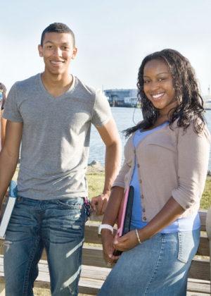 Hamption University Students Pose on Campus along the Hampton River.