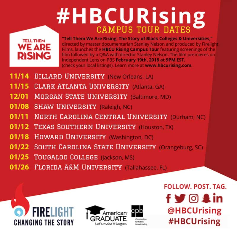 #HBCURising tour schedule and SOcial Media