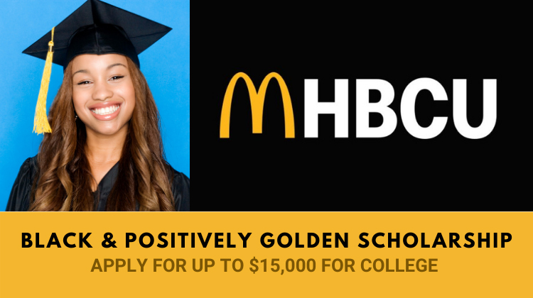 Smiling young female graduate in a black cap and gown looks to apply for the McDonald's Scholarship.