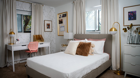 A snap-shot of a completed dream room makeover for HBCU graduate Brittany Goddard designed by Whitney Jones in partnership with the Home Depot.