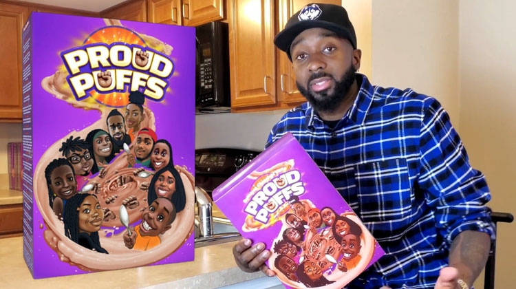 Entrepreneur Nic King sits holding a box of Proud Puffs cereal, a product of his black-owned Legacy Cereal Company.