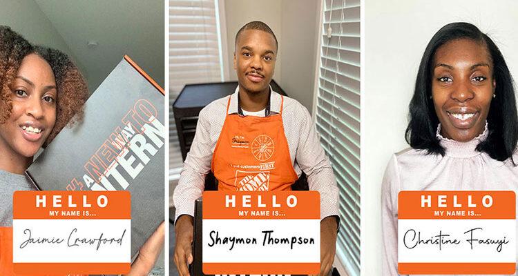 The Home Depot Internship HBCU participants Jaimie, Shaymon and Christine pose for their intern photos.